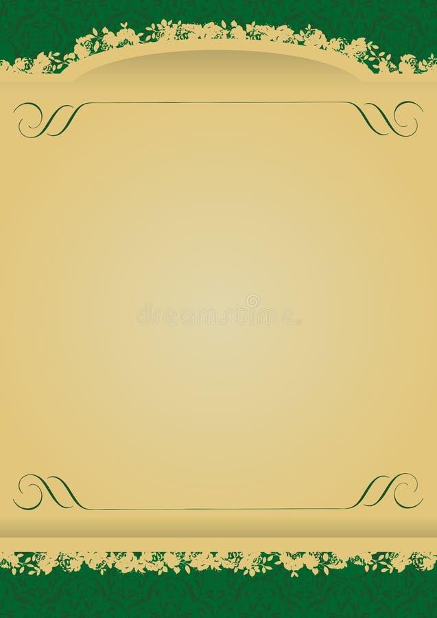 Vetor decorativo da bandeira do verde e do ouro do vintage ilustração stock