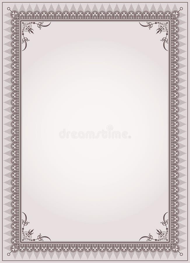 Vetor decorativo do molde do certificado do quadro da beira ilustração do vetor