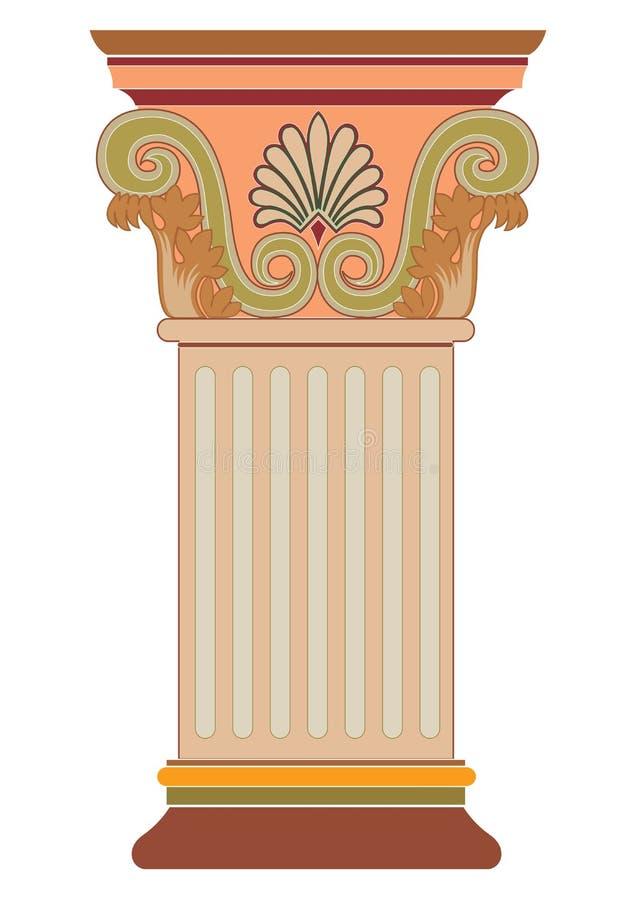 Vetor decorativo grego da coluna da arte cl?ssica velha ilustração royalty free