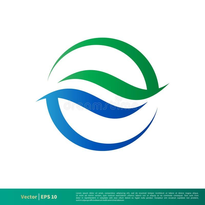 Vetor decorativo Logo Template Illustration Design do ícone da onda de água do círculo Vetor EPS 10 ilustração stock