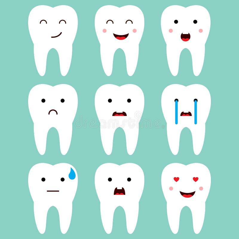 Vetor dental bonito das expressões dos dentes ilustração do vetor