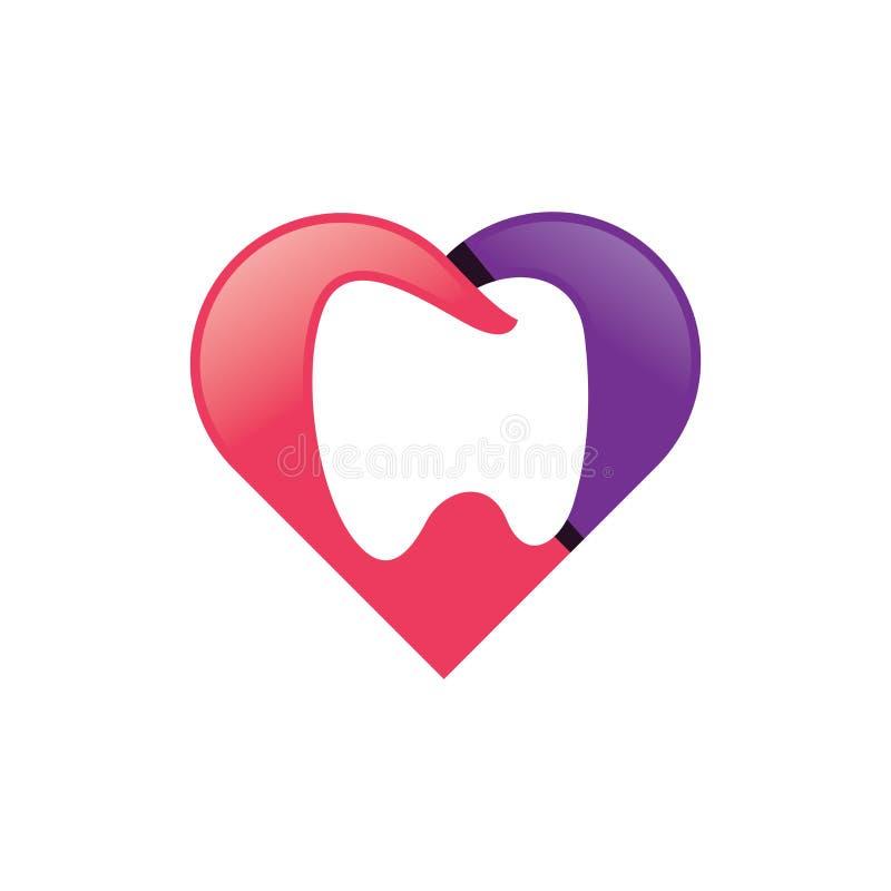 Vetor dental do logotipo do amor ilustração do vetor