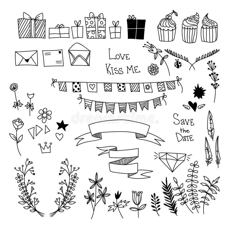 Vetor desenhado à mão ajustado: elementos do projeto, coleção da etiqueta com ilustração stock