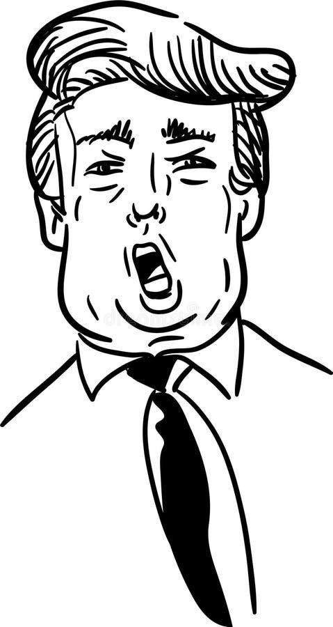 Vetor desenhado à mão preto e branco da caricatura do trunfo Esboço da garatuja do discurso da gritaria do presidente americano c ilustração stock