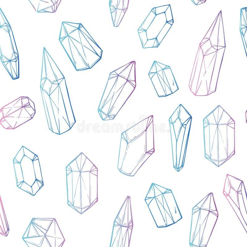 Vetor desenhado mão Teste padrão sem emenda com cristais geométricos ilustração royalty free
