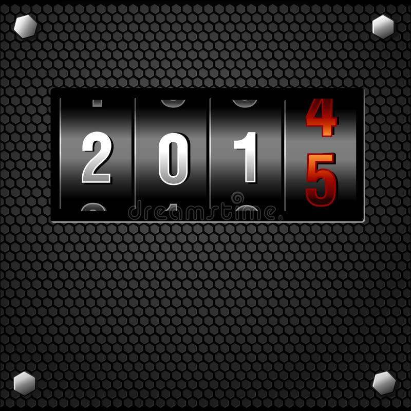 Vetor detalhado contrário análogo do ano 2015 novo ilustração stock