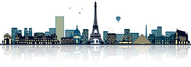 Vetor detalhado da skyline de Paris france ilustração royalty free