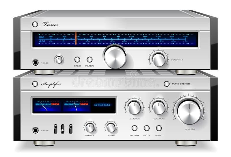 Vint estereofónico do amplificador audio e do afinador da música análoga ilustração do vetor