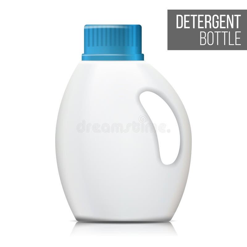 Vetor detergente da garrafa Zombaria realística acima Garrafa plástica limpa branca ilustração do vetor