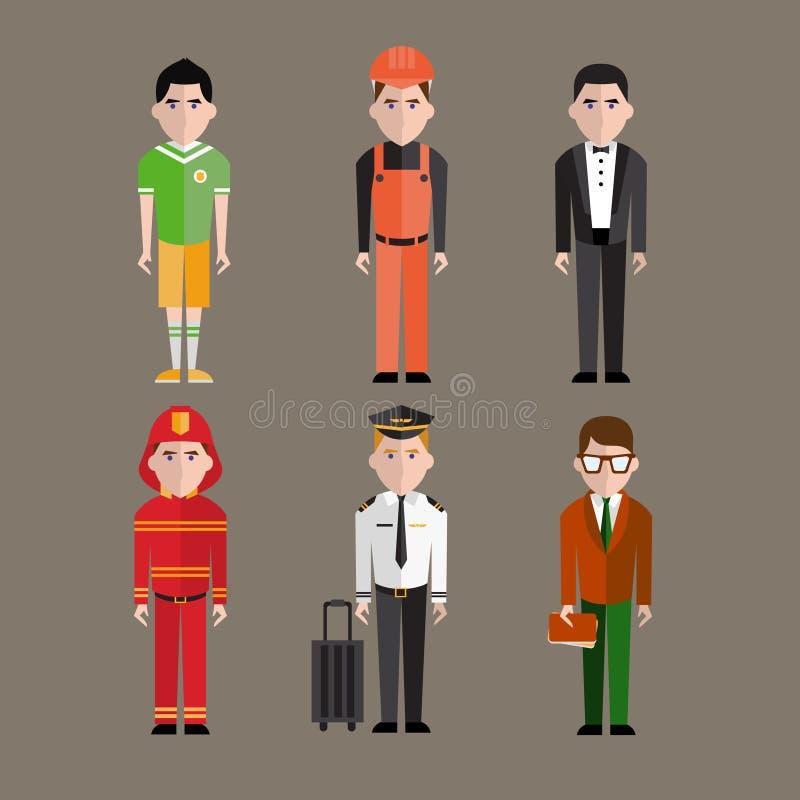 Vetor diferente dos caráteres das profissões dos povos ilustração stock