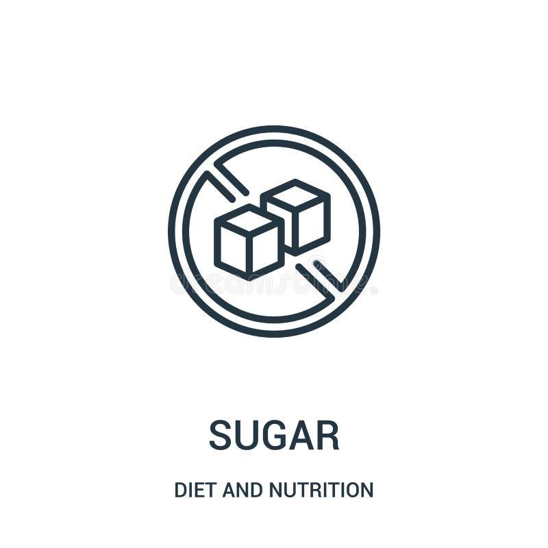 vetor do ícone do açúcar da coleção da dieta e da nutrição Linha fina ilustração do vetor do ícone do esboço do açúcar S?mbolo li ilustração royalty free