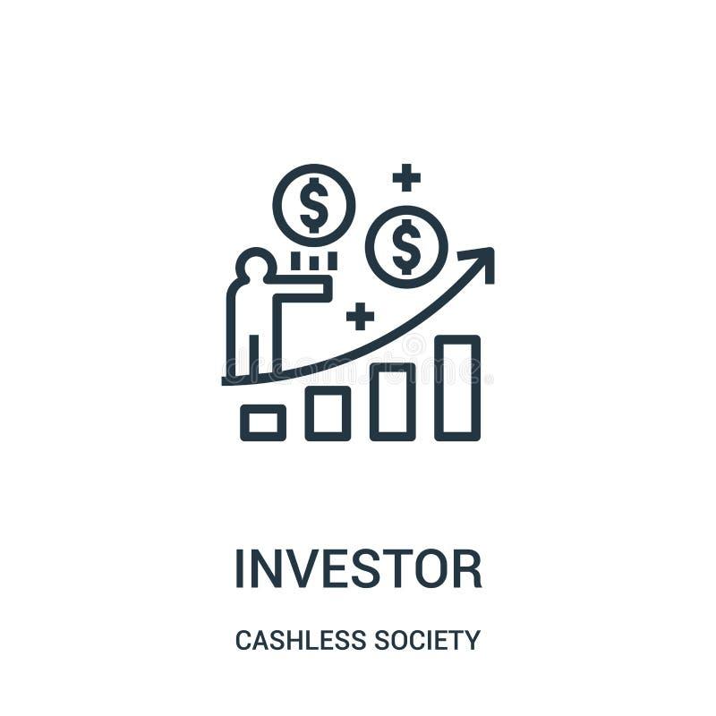 vetor do ícone do acionista da coleção cashless da sociedade Linha fina ilustração do vetor do ícone do esboço do acionista ilustração stock