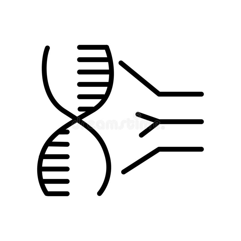 Vetor do ícone do ADN isolado no fundo branco, sinal do ADN, linear ilustração do vetor