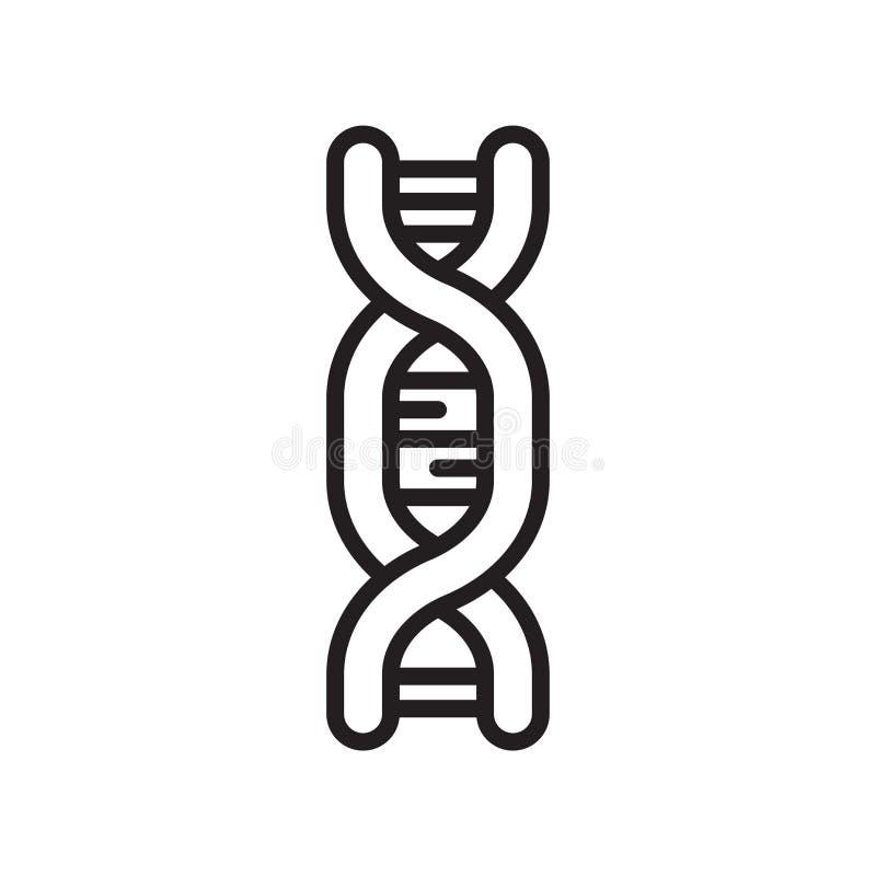 Vetor do ícone do ADN isolado no fundo branco, sinal do ADN, linha ou ilustração stock