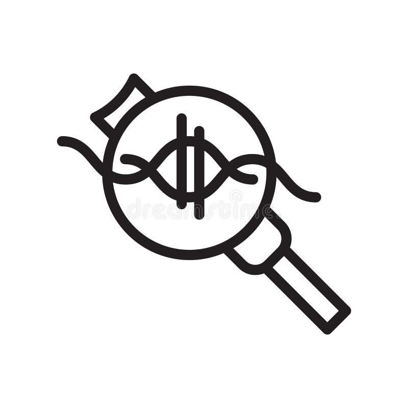 Vetor do ícone do ADN isolado no fundo branco, no sinal do ADN, na linha símbolo ou no projeto linear do elemento no estilo do es ilustração stock