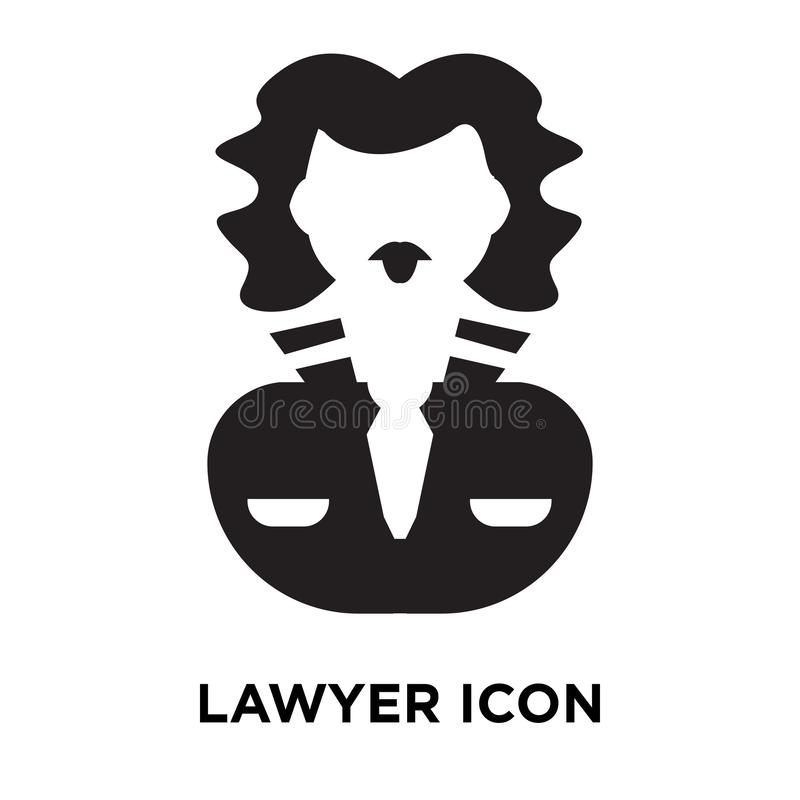 Vetor do ícone do advogado isolado no fundo branco, conceito do logotipo de ilustração stock