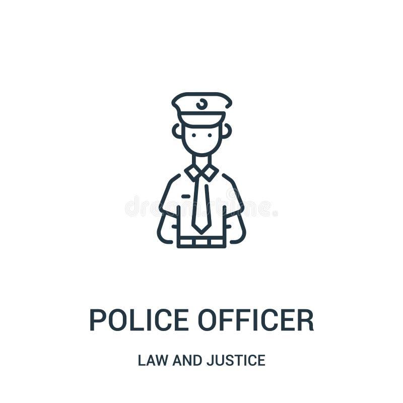vetor do ícone do agente da polícia da coleção da lei e da justiça Linha fina ilustração do vetor do ícone do esboço do agente da ilustração royalty free