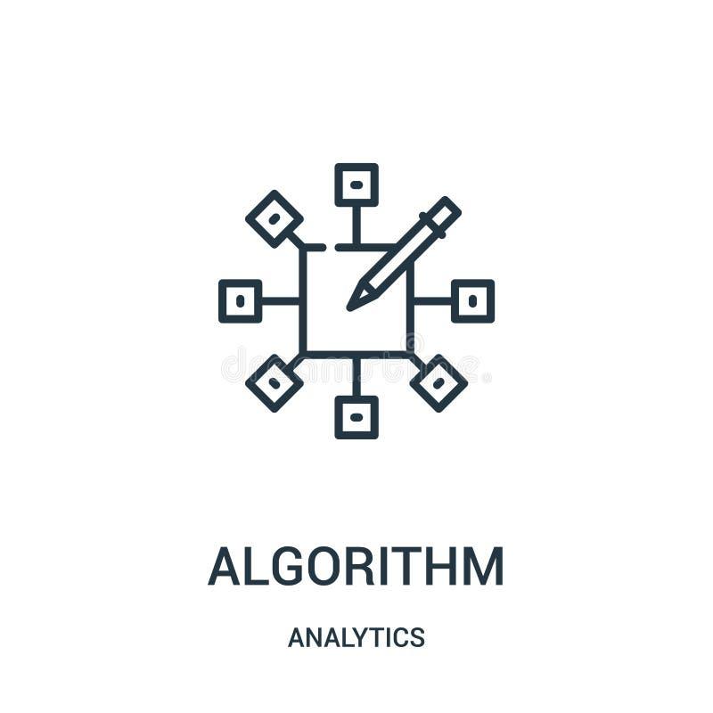 vetor do ícone do algoritmo da coleção da analítica Linha fina ilustração do vetor do ícone do esboço do algoritmo ilustração royalty free
