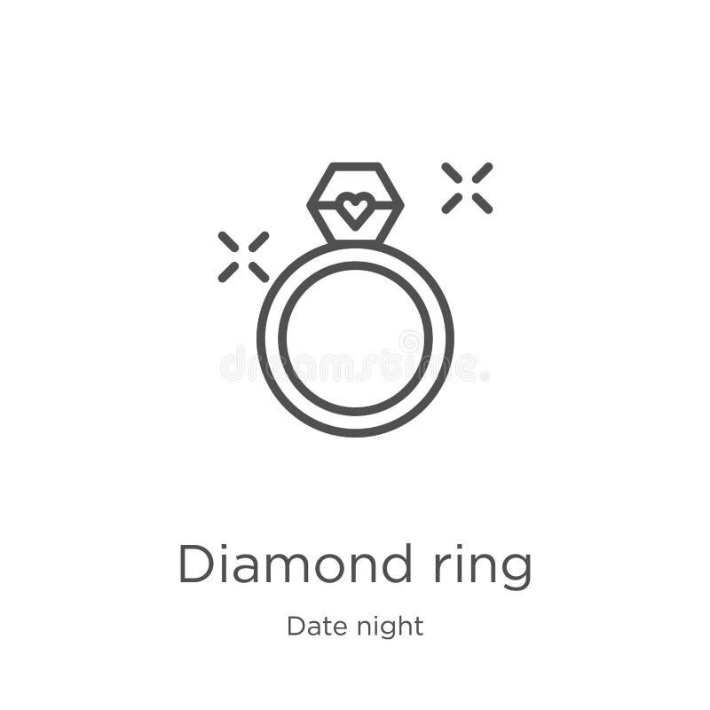 vetor do ícone do anel de diamante da coleção da noite da data Linha fina ilustração do vetor do ícone do esboço do anel de diama ilustração royalty free