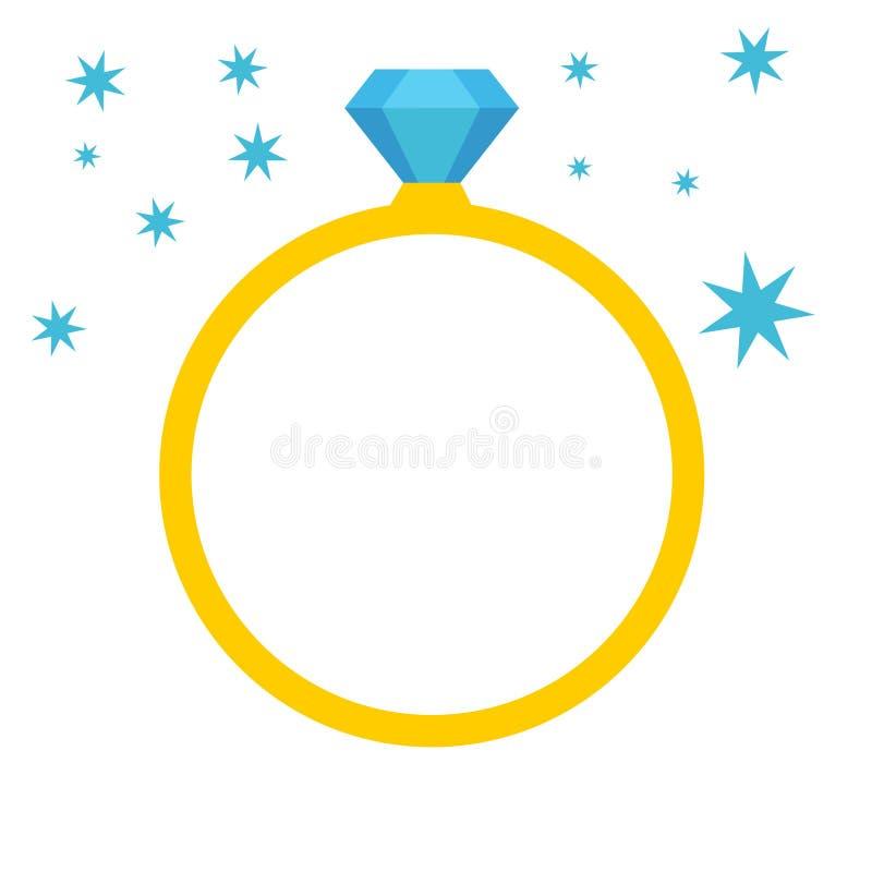 Vetor do ícone do anel de noivado do casamento de diamante, ilustração de cristal da joia ilustração do vetor