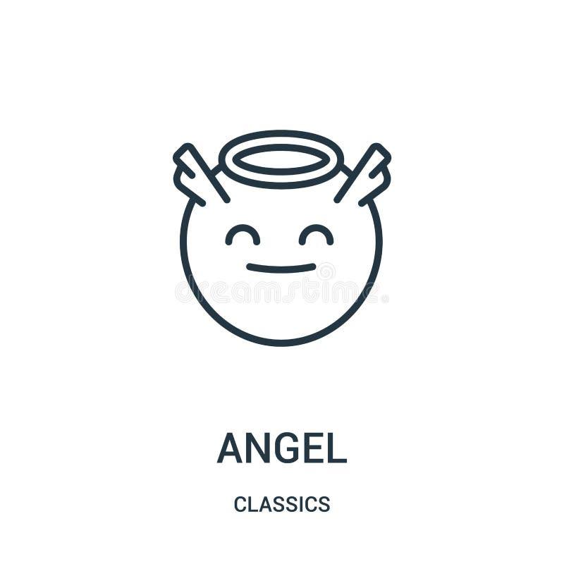 vetor do ícone do anjo da coleção dos clássicos Linha fina ilustração do vetor do ícone do esboço do anjo Símbolo linear ilustração royalty free