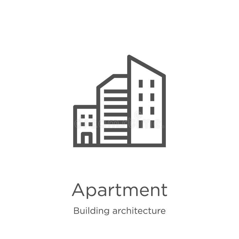 vetor do ícone do apartamento da coleção da arquitetura da construção Linha fina ilustração do vetor do ícone do esboço do aparta ilustração royalty free