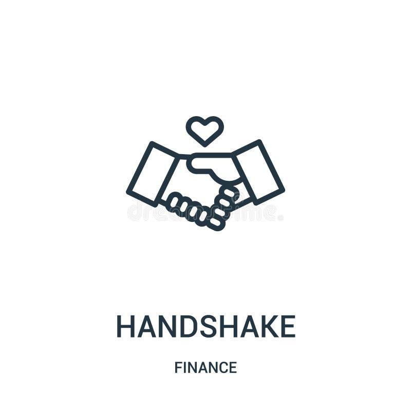vetor do ícone do aperto de mão da coleção da finança Linha fina ilustração do vetor do ícone do esboço do aperto de mão Símbolo  ilustração stock