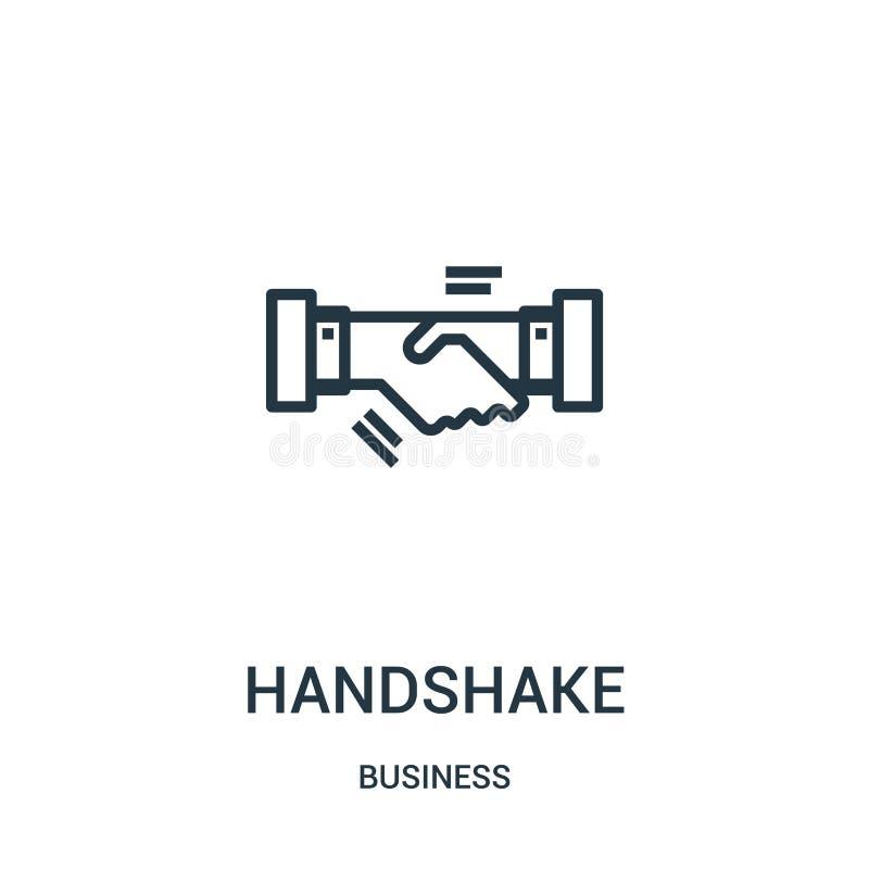 vetor do ícone do aperto de mão da coleção do negócio Linha fina ilustração do vetor do ícone do esboço do aperto de mão Símbolo  ilustração do vetor