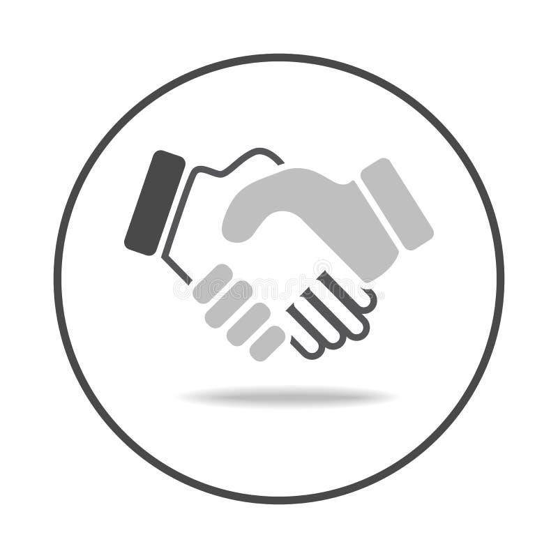 Vetor do ícone do aperto de mão no círculo, símbolo icônico dentro de um círculo, no fundo branco Projeto icônico do vetor ilustração stock