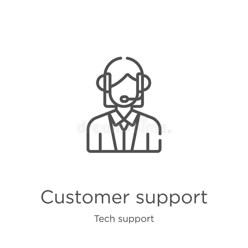 vetor do ícone do apoio ao cliente da coleção do suporte técnico Linha fina ilustração do vetor do ícone do esboço do apoio ao cl ilustração do vetor