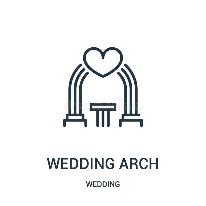 vetor do ícone do arco do casamento da coleção do casamento Linha fina ilustração do vetor do ícone do esboço do arco do casament ilustração stock