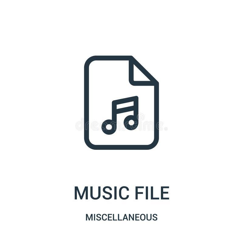vetor do ícone do arquivo da música da coleção variada Linha fina ilustração do vetor do ícone do esboço do arquivo da música Sím ilustração royalty free
