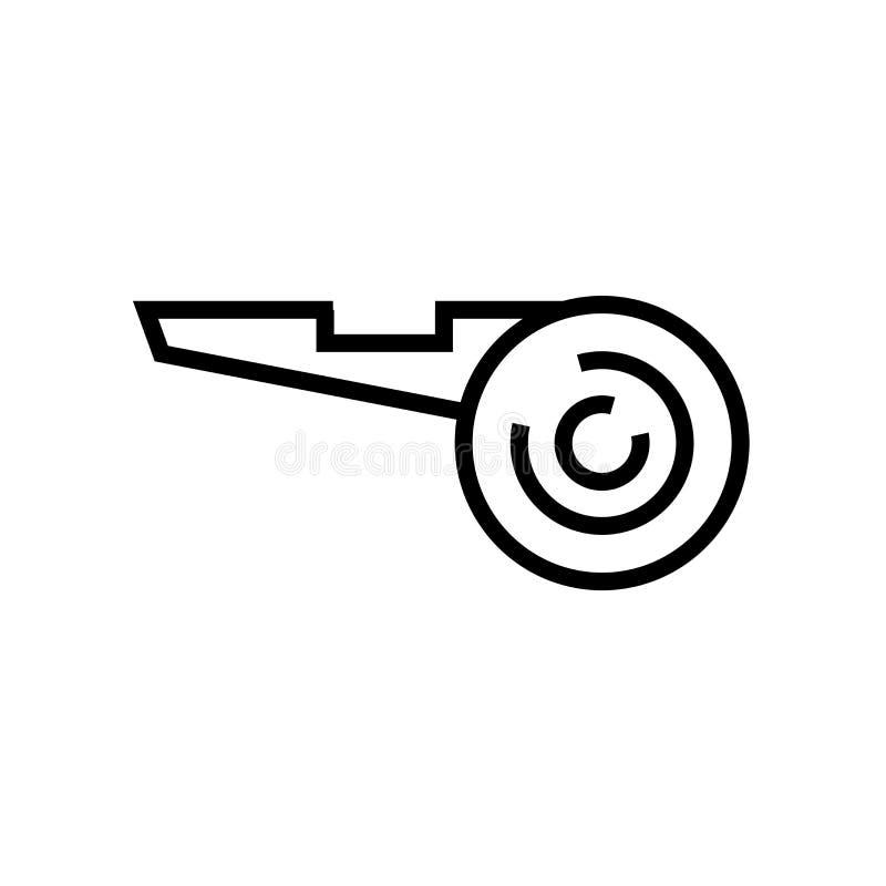 Vetor do ícone do assobio do árbitro do futebol isolado no sinal branco do assobio do fundo, do árbitro do futebol, no símbolo li ilustração royalty free