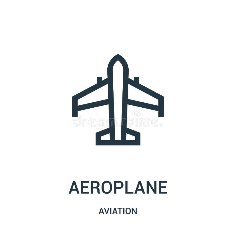 vetor do ícone do avião da coleção da aviação Linha fina ilustração do vetor do ícone do esboço do avião Símbolo linear para o us ilustração royalty free