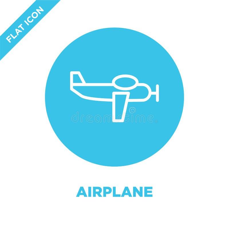 vetor do ícone do avião da coleção militar Linha fina ilustração do vetor do ícone do esboço do avião Símbolo linear para o uso n ilustração stock