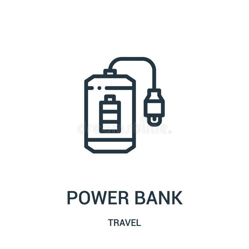 vetor do ícone do banco do poder da coleção do curso Linha fina ilustração do vetor do ícone do esboço do banco do poder Símbolo  ilustração royalty free