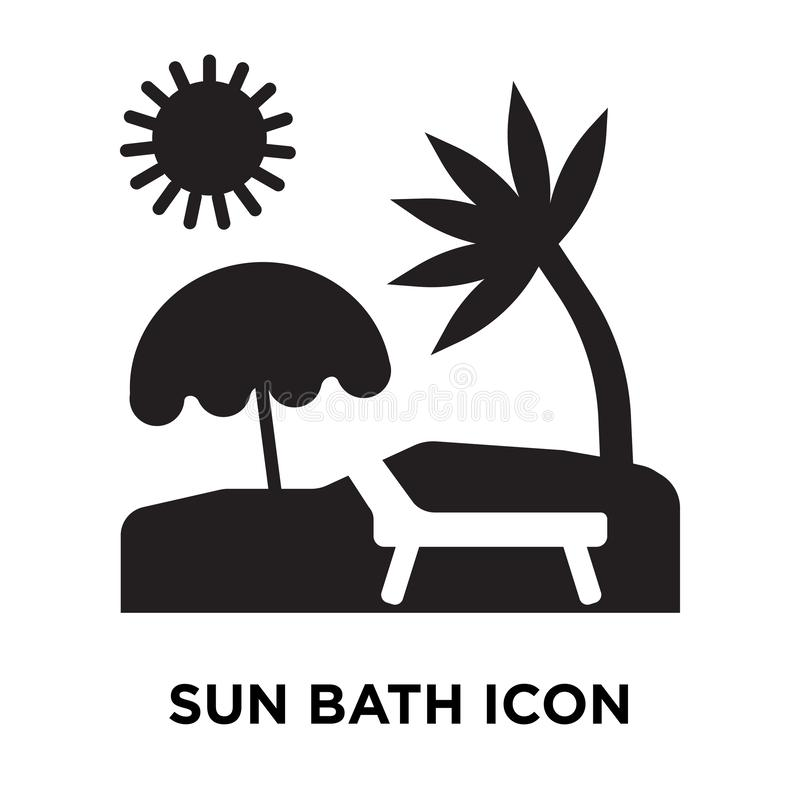 Vetor do ícone do banho de Sun isolado no fundo branco, conceito do logotipo ilustração stock