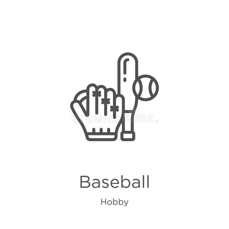 vetor do ícone do basebol da coleção do passatempo Linha fina ilustração do vetor do ícone do esboço do basebol Esboço, linha fin ilustração stock