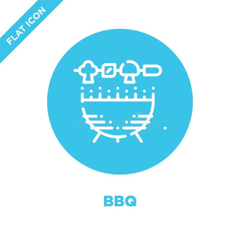 vetor do ícone do BBQ da coleção de acampamento _fino linha BBQ esboço ícone vetor ilustração Símbolo linear para o uso na Web e  ilustração stock