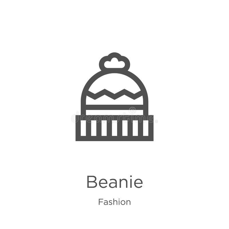 vetor do ícone do beanie da coleção da forma Linha fina ilustração do vetor do ícone do esboço do beanie Esboço, linha fina ícone ilustração royalty free