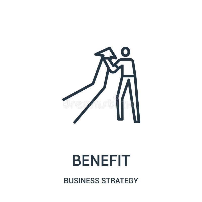 vetor do ícone do benefício da coleção da estratégia empresarial Linha fina ilustração do vetor do ícone do esboço do benefício ilustração do vetor