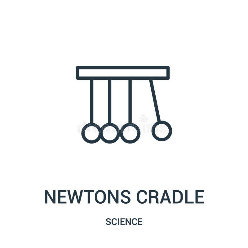 vetor do ícone do berço dos newtons da coleção da ciência Linha fina ilustra??o do vetor do ?cone do esbo?o do ber?o dos newtons  ilustração royalty free