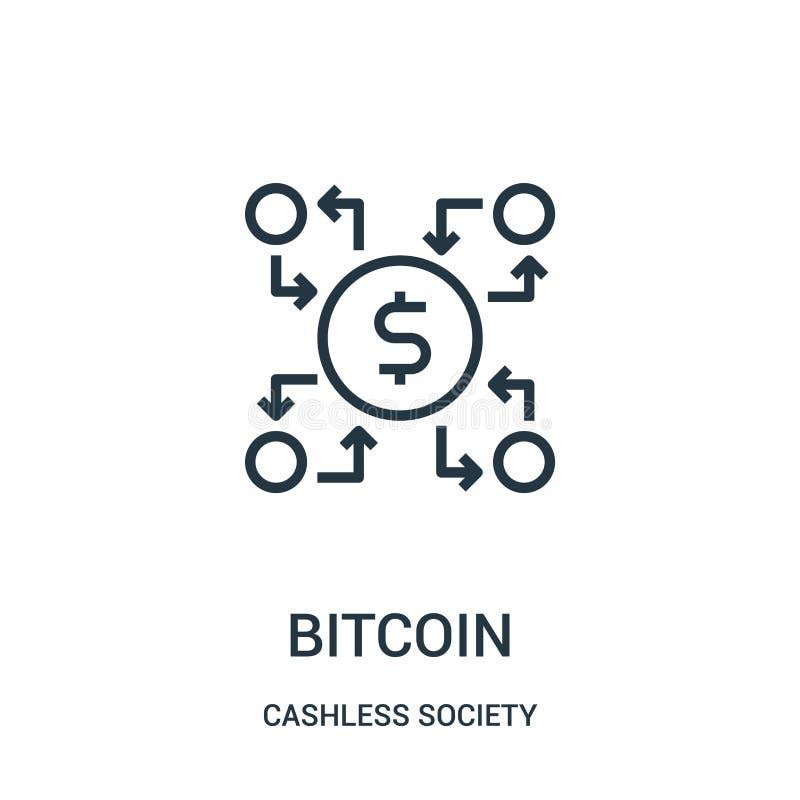 vetor do ícone do bitcoin da coleção cashless da sociedade Linha fina ilustra??o do vetor do ?cone do esbo?o do bitcoin ilustração do vetor
