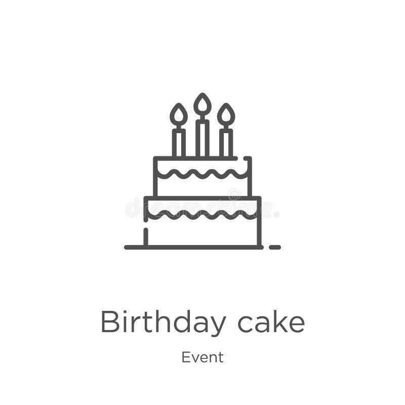 vetor do ícone do bolo de aniversário da coleção do evento Linha fina ilustração do vetor do ícone do esboço do bolo de aniversár ilustração do vetor
