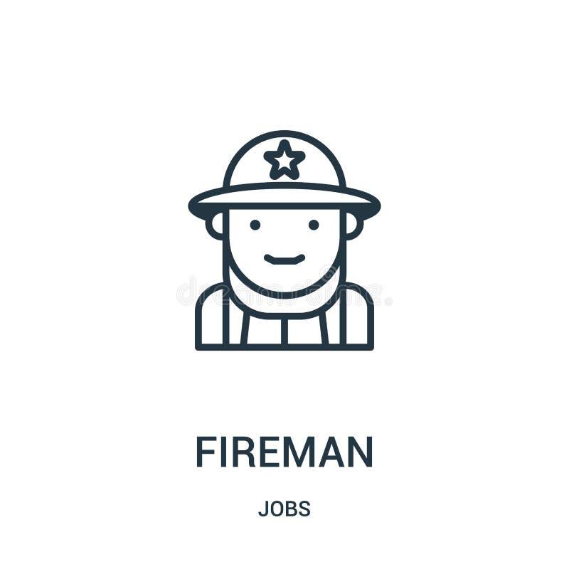 vetor do ícone do bombeiro da coleção dos trabalhos Linha fina ilustração do vetor do ícone do esboço do bombeiro S?mbolo linear ilustração royalty free