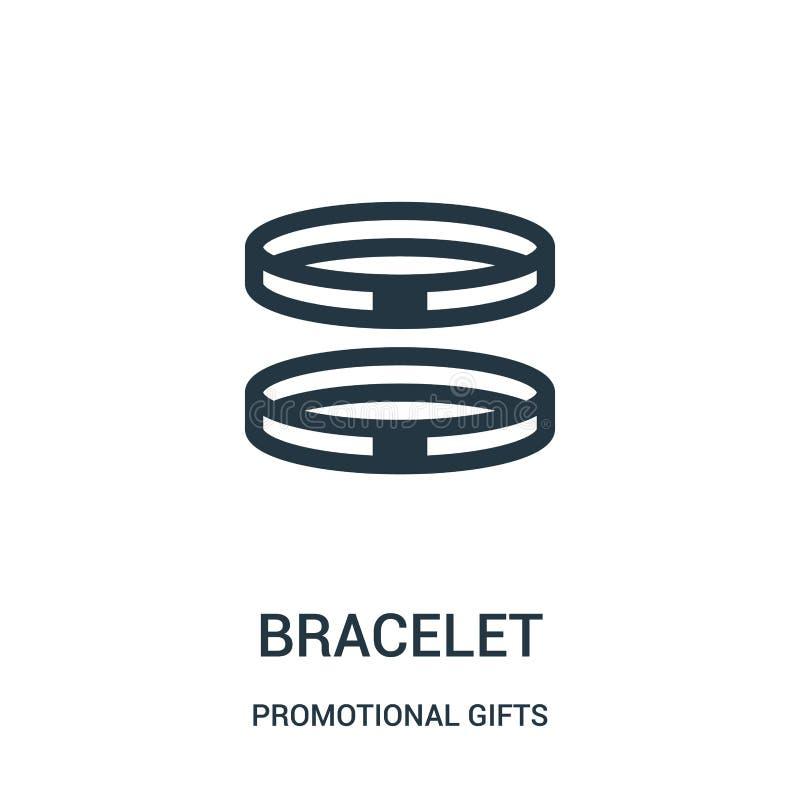 vetor do ícone do bracelete da coleção relativa à promoção dos presentes Linha fina ilustração do vetor do ícone do esboço do bra ilustração stock