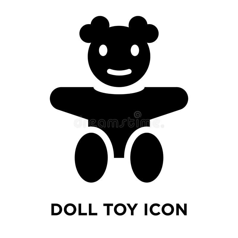 Vetor do ícone do brinquedo da boneca isolado no fundo branco, conceito do logotipo ilustração royalty free