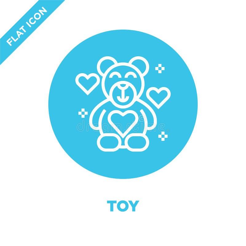 vetor do ícone do brinquedo da coleção dos elementos da caridade Linha fina ilustração do vetor do ícone do esboço do brinquedo S ilustração stock