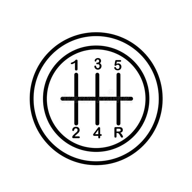 Vetor do ícone do câmbio de marchas isolado no fundo branco, no sinal do câmbio de marchas, no símbolo linear e nos elementos do  ilustração do vetor