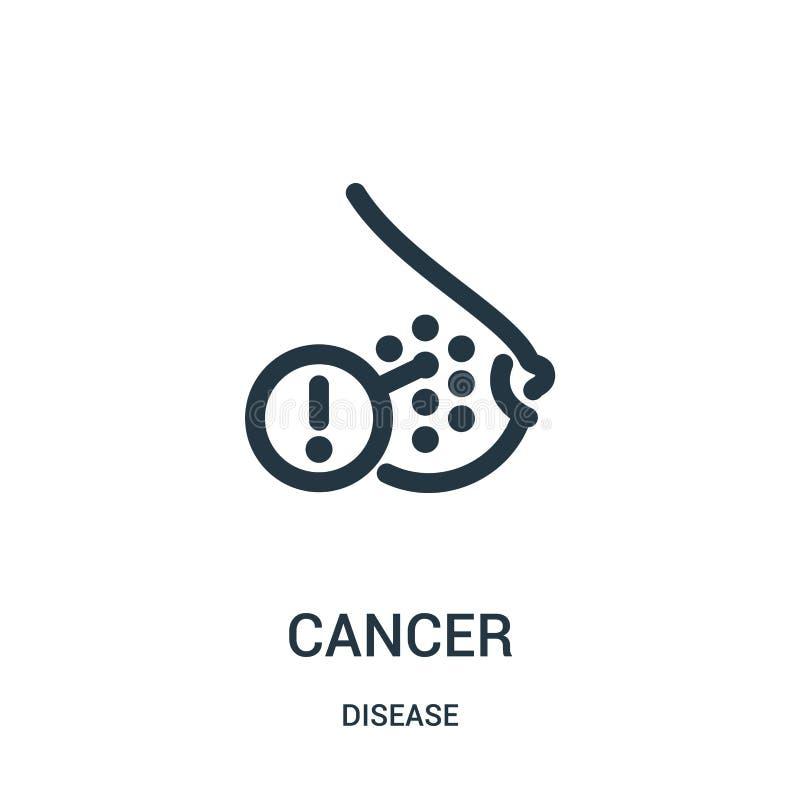 vetor do ícone do câncer da coleção da doença Linha fina ilustração do vetor do ícone do esboço do câncer Símbolo linear para o u ilustração stock